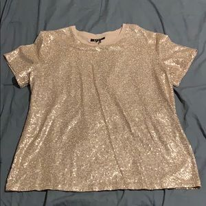 Rose Gold Sparkly DKNY Crew Neck T-shirt
